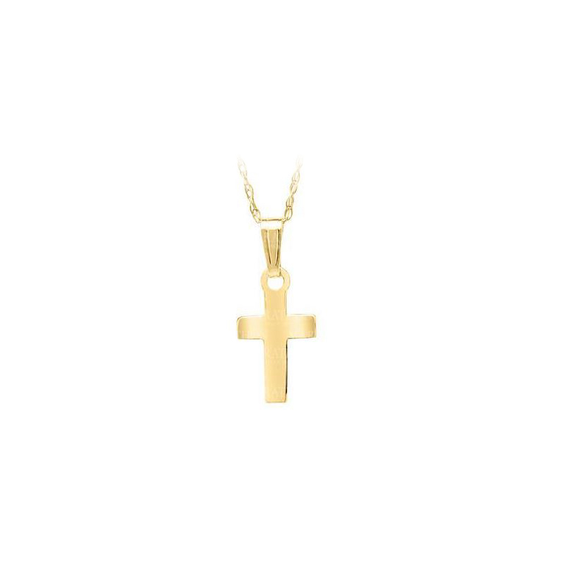 14 Karat Yellow Gold Baby Cross Pendant Necklace