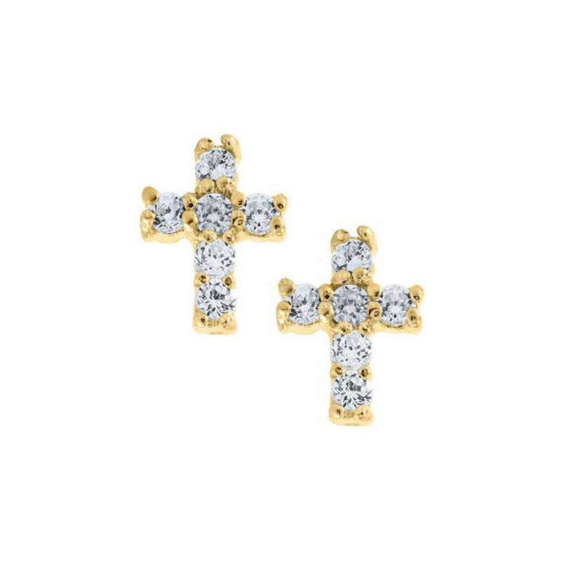 14 Karat Yellow Gold Baby Cubic Zirconia Cross Earrings