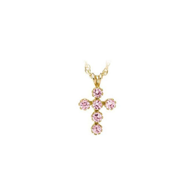 14 Karat Yellow Gold Baby Pink Cubic Zirconia Cross Pendant necklace