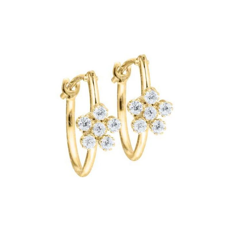 14 Karat Yellow Gold White Cubic Zirconia Flower Hoop Earrings