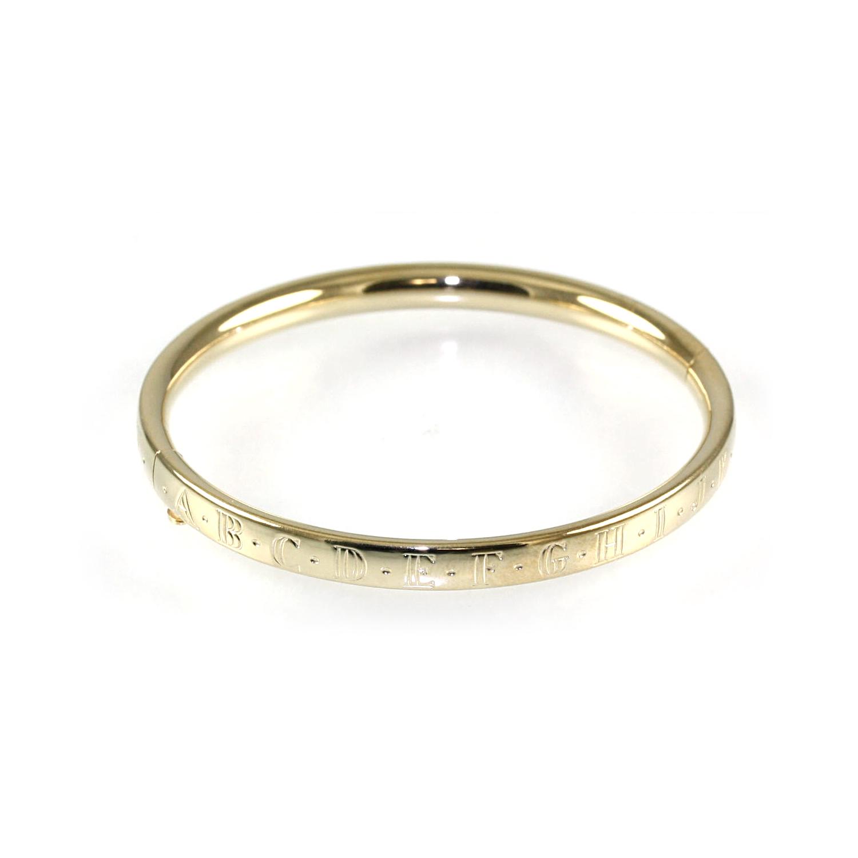 14 Karat Yellow Gold Hinged ABC Bangle Bracelet