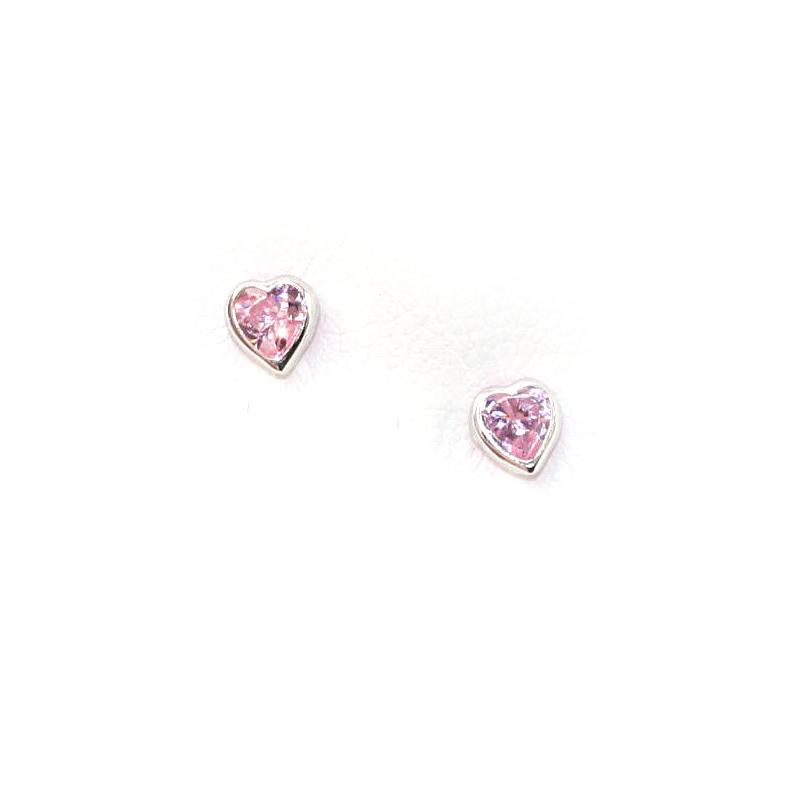Sterling Silver Kiddie Kraft Pink Cubic Zirconia Heart Earrings
