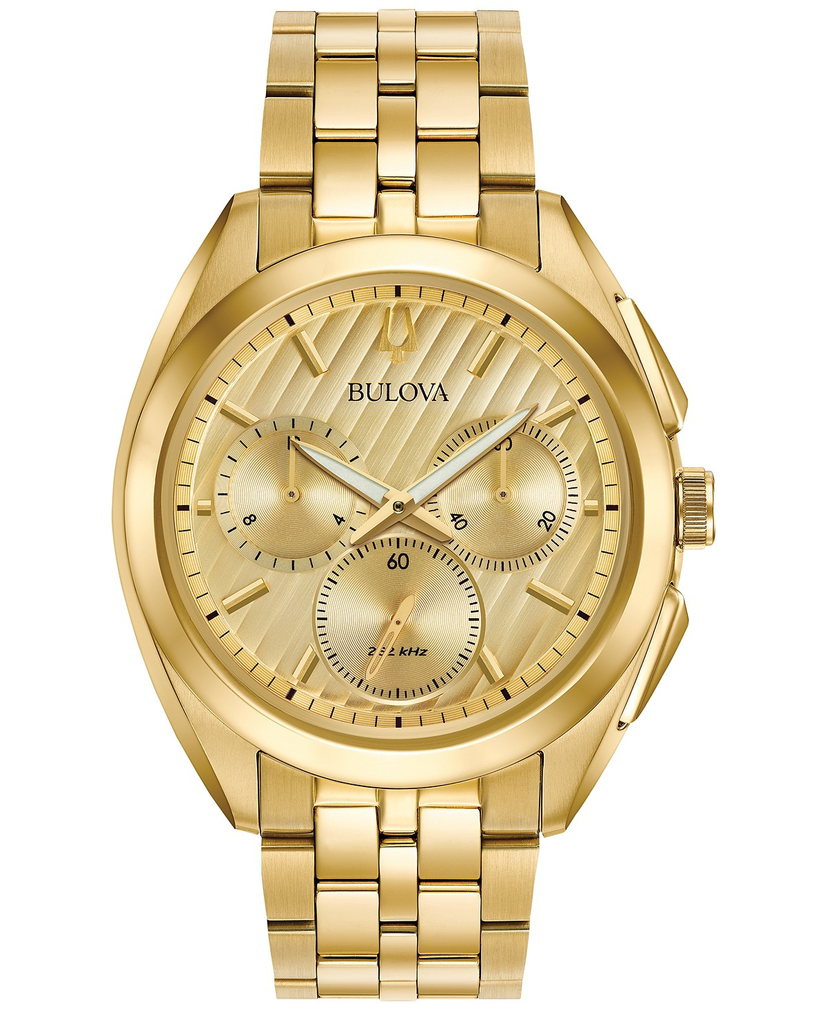 2982d3392 Bulova Men's Chronograph Curv Gold-Tone Stainless Steel Bracelet Watch 45mm