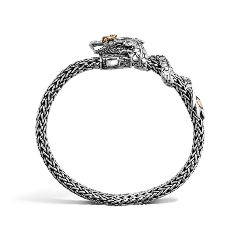 John Hardy Legends Naga Two Tone Dragon Station Small Silver Bracelet