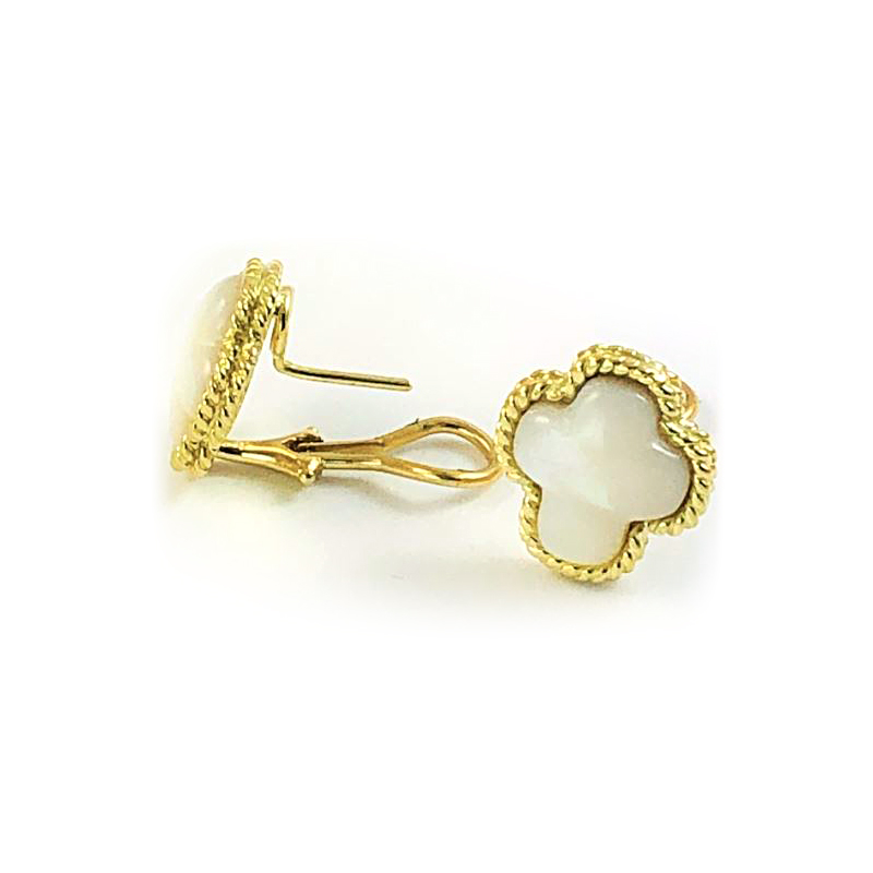 18 Karat Yellow Gold Mother of Pearl Cross Earrings