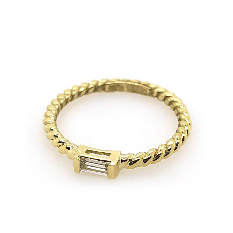 18 Karat Yellow Gold Diamond Cable Rope Ring
