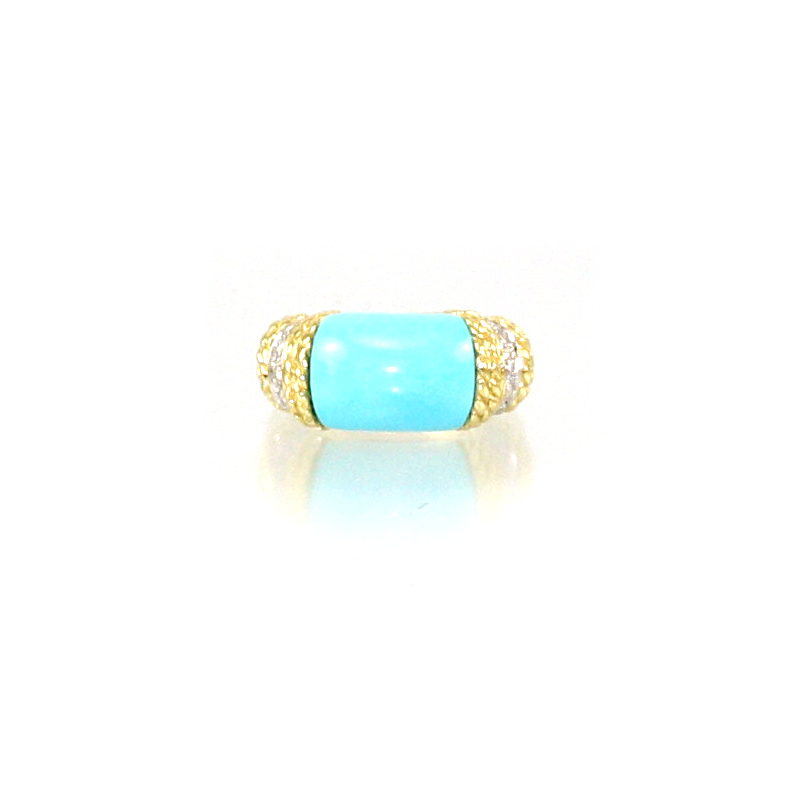 18 Karat Yellow Gold Turquoise and Diamond Domed Ring