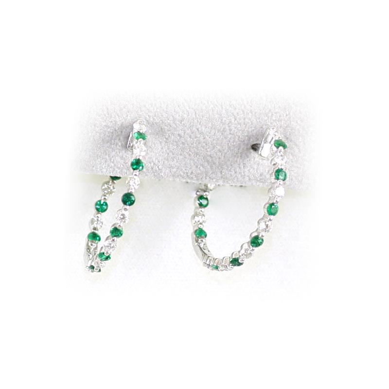 14 Karat White Gold Emerald and Diamond Hoop Earrings