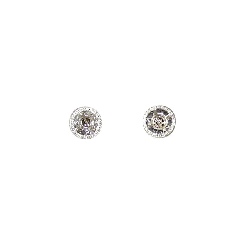14 Karat White Gold Circle Diamond Semi-Mount Earrings