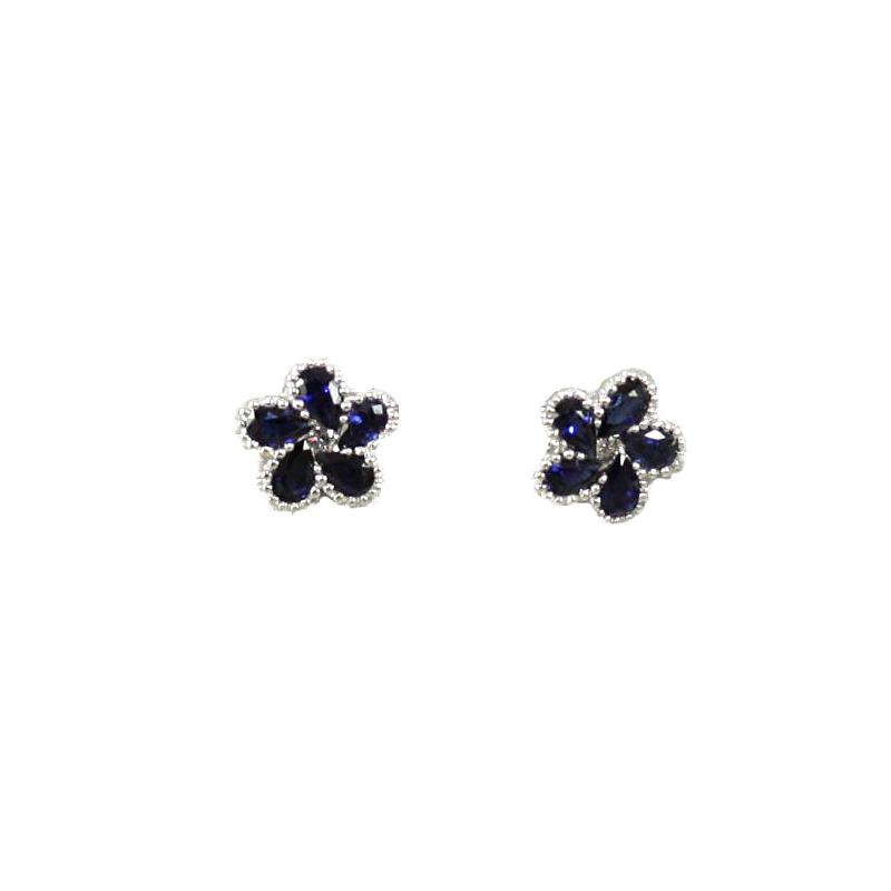 14 Karat White Gold Blue Sapphire and Diamond Earrings