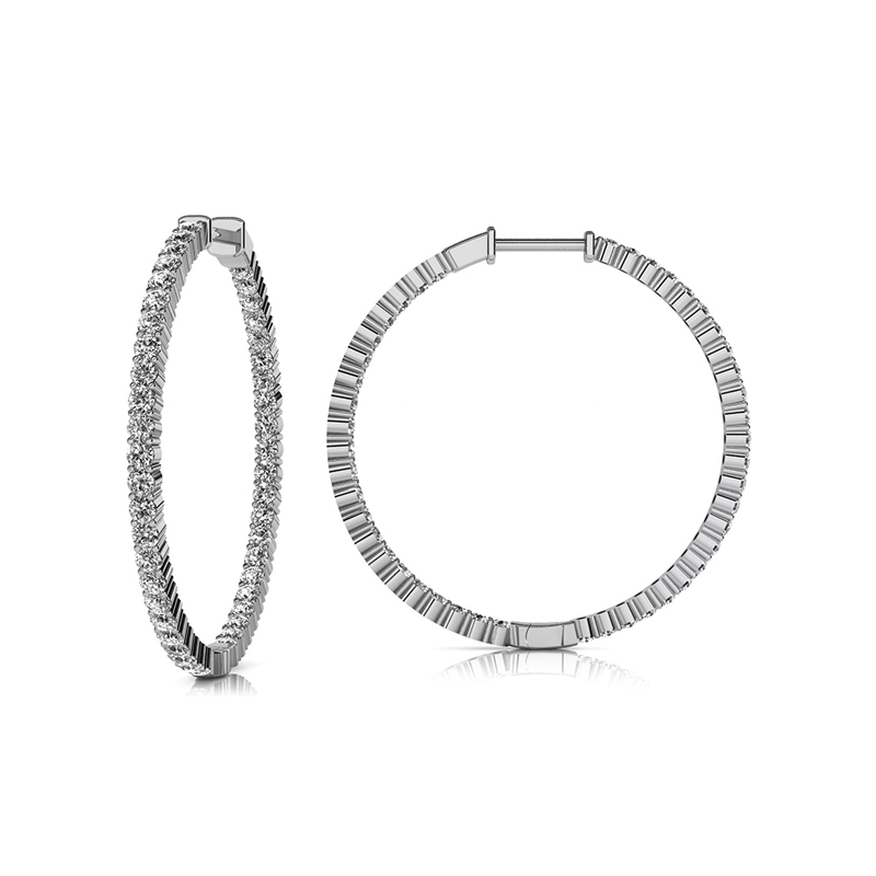 14 Karat white gold and diamond inside out hinged hoop earrings