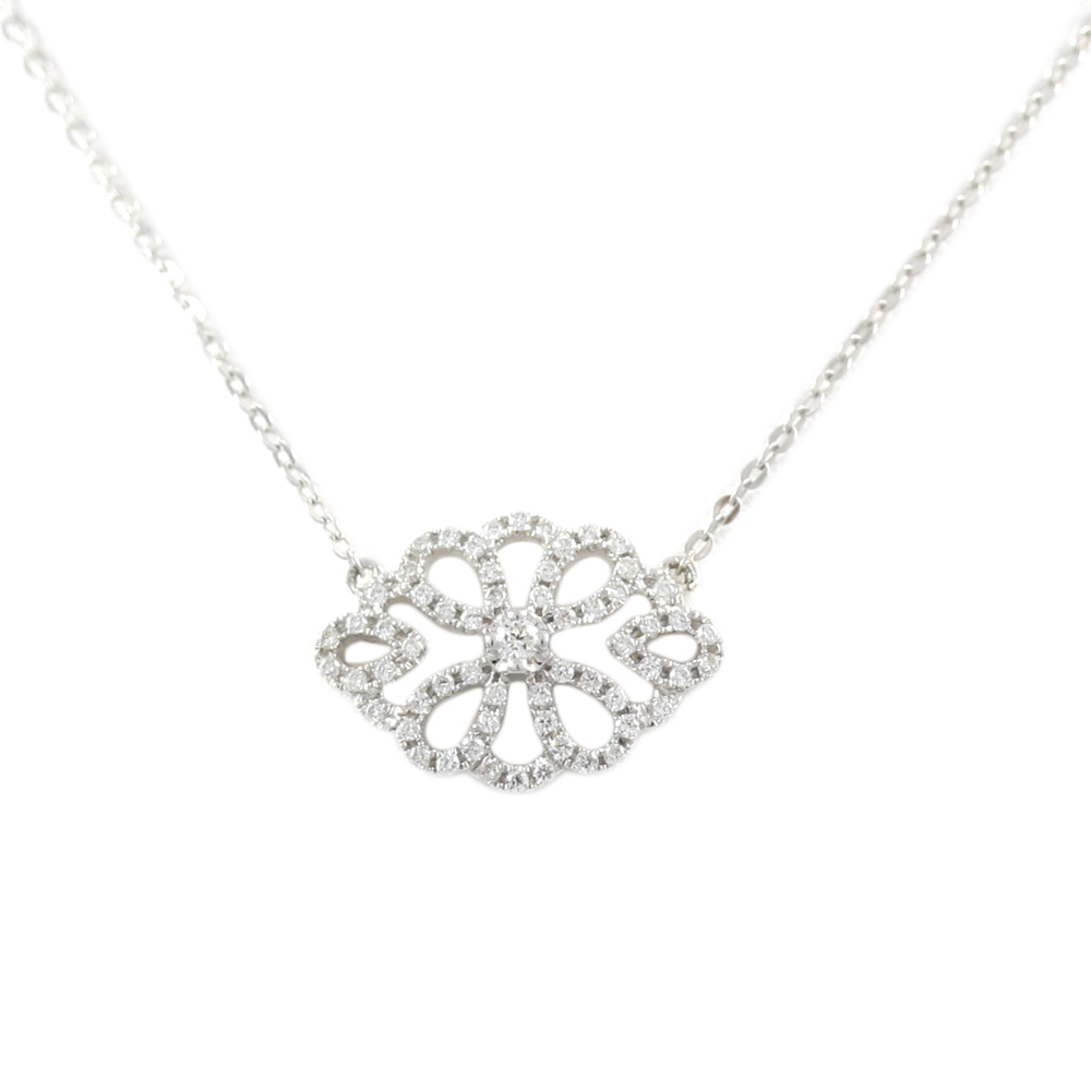 14 Karat White Gold Marquis Filigree Diamond Pendant Necklace Necklace