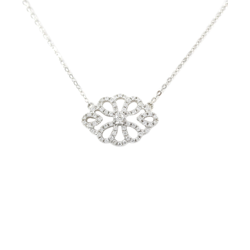 14karat white gold filigree diamond pendant necklace.