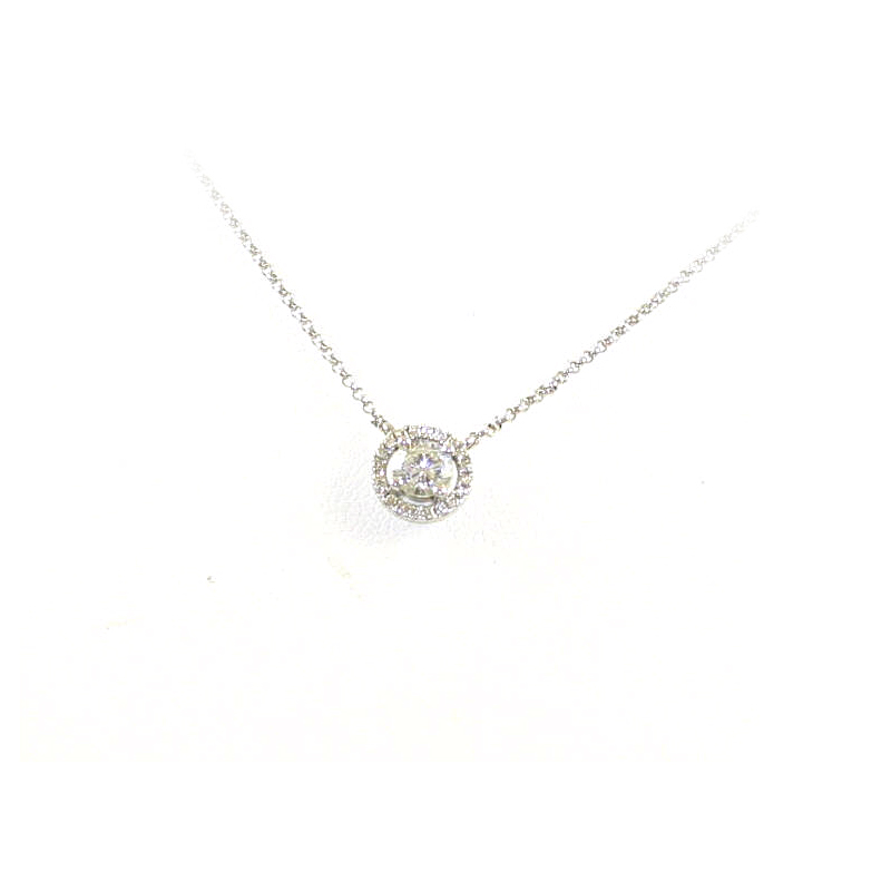 14 Karat White Gold Halo Diamond Pendant Necklace