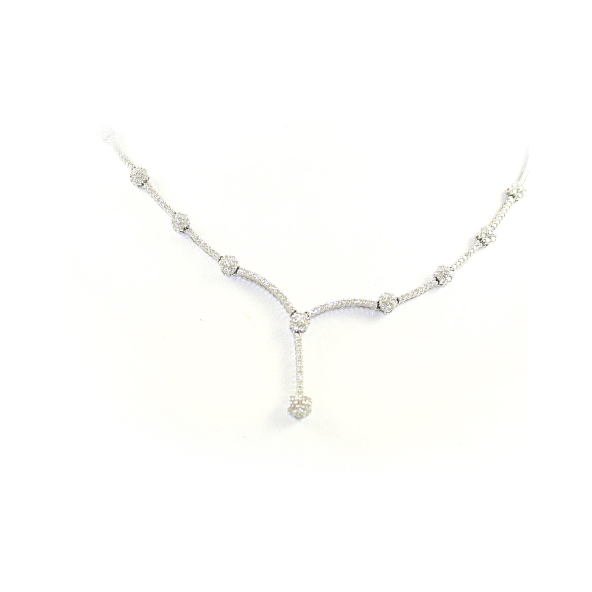 14 Karat White Gold Diamond Bar and Circle Strand Necklace