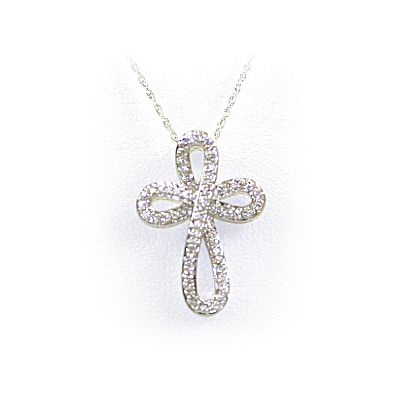 14 Karat White Gold Curved Diamond Cross Pendant Necklace