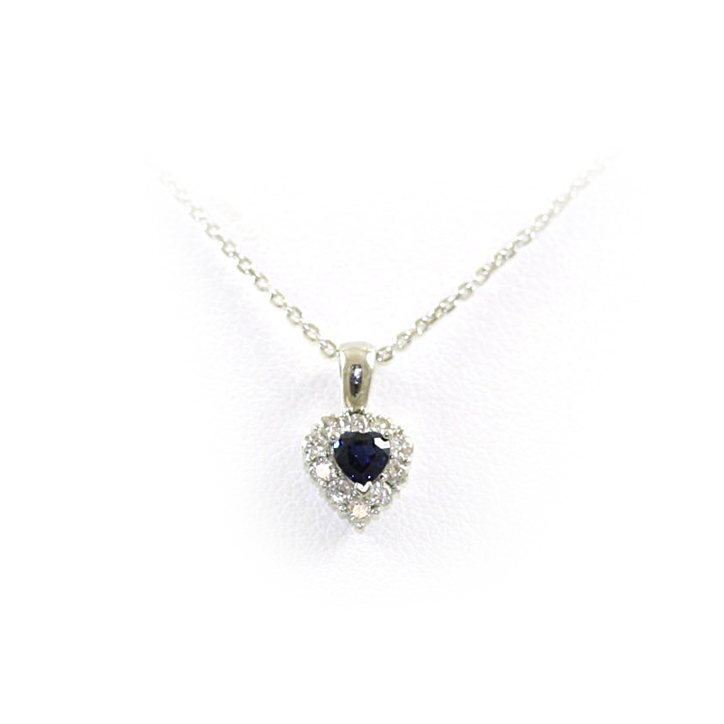 18 Karat White Gold Sapphire and Diamond Heart Pendant Necklace