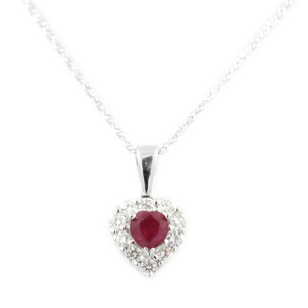 14 Karat White Gold Ruby and Diamond Heart Pendant Necklace