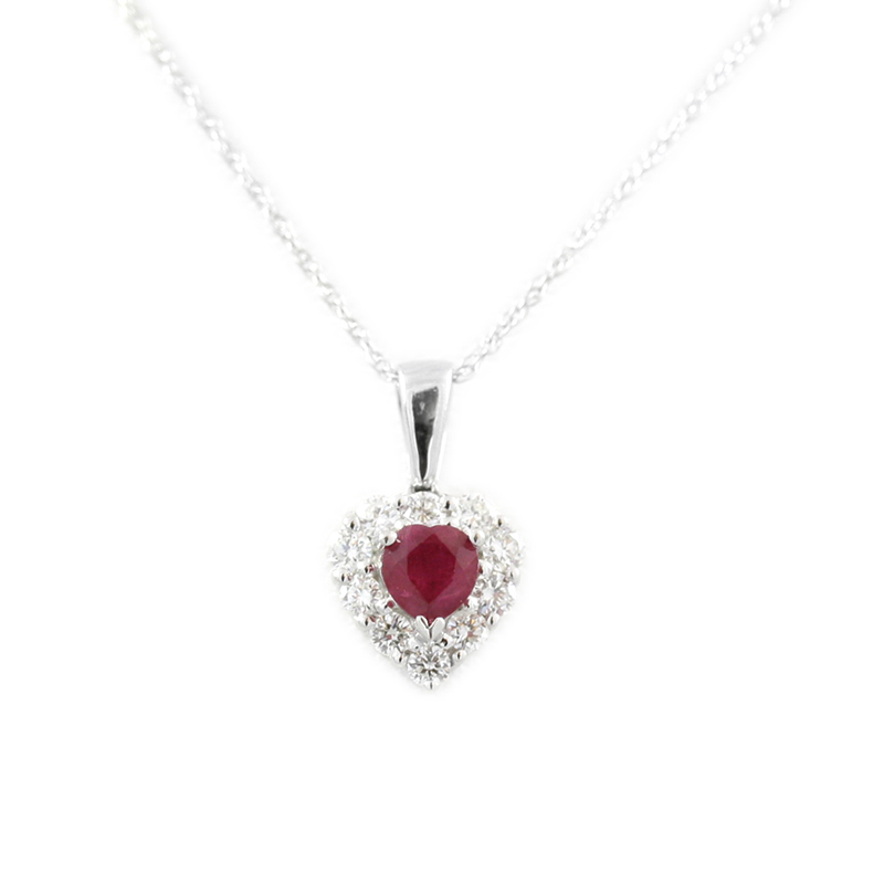 14karat white gold ruby and diamond heart pendant