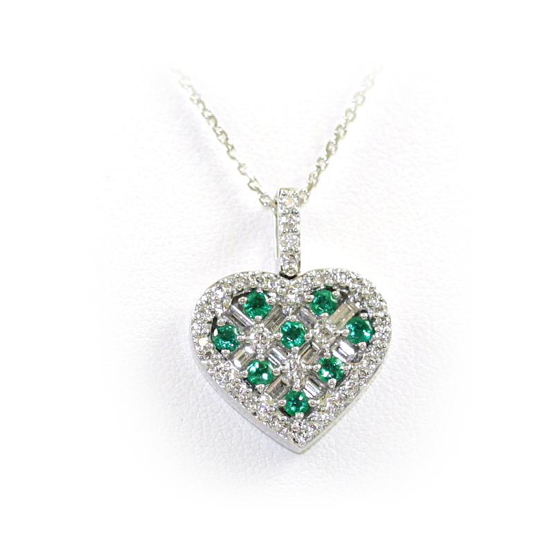 18 Karat White Gold Emerald And Diamond Heart Pendant Necklace
