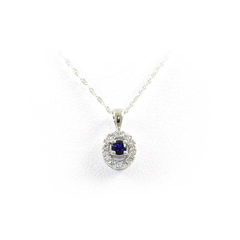 14 Karat White Gold Round Sapphire and Diamond Pendant Necklace