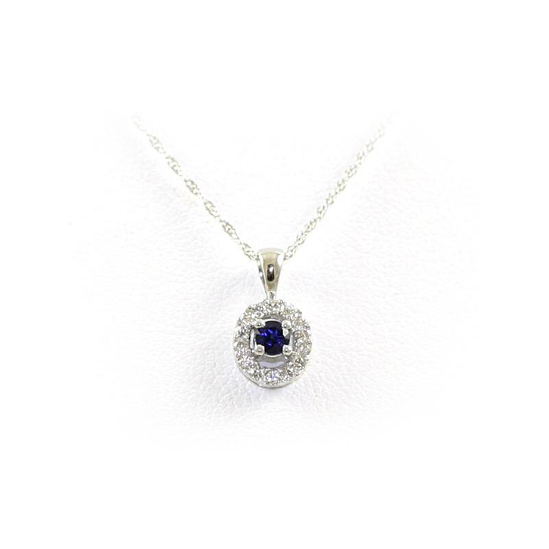 14 Karat White Gold Round Sapphire and Diamond Pendant Necklace