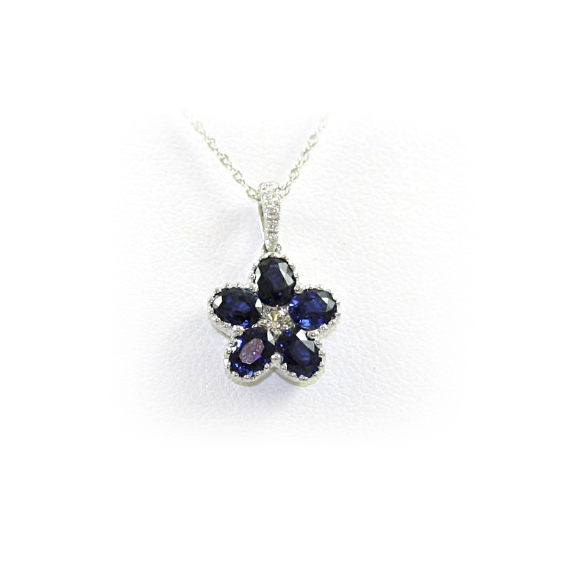 14 Karat White Gold Sapphire and Diamond Flower Pendant Necklace