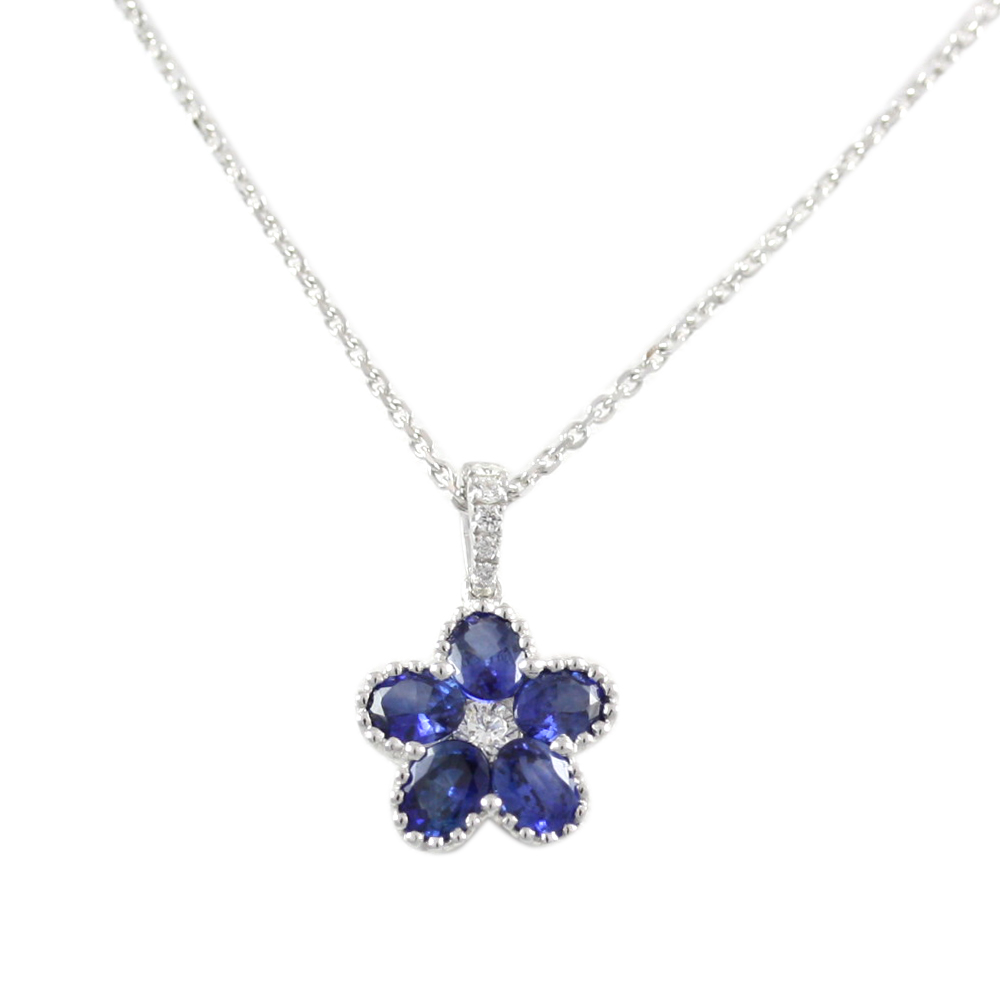 18 Karat White Gold Sapphire and Diamond Flower Pendant Necklace