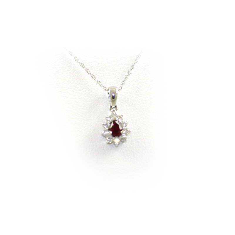 14 Karat White Gold Ruby and Diamond Pendant Necklace