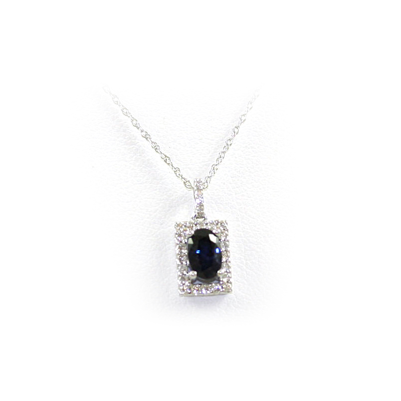 14 Karat White Gold Oval Sapphire and Diamond Pendant Necklace