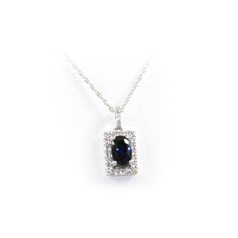 14 Karat White Gold Oval Sapphire and Diamond Pendant Necklace