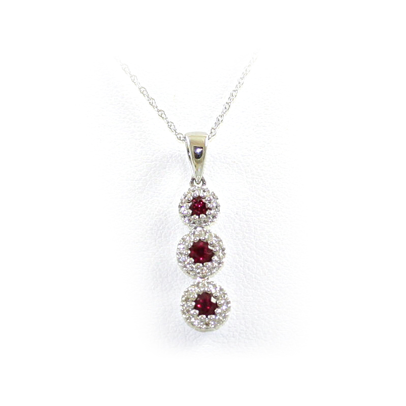 14 Karat White Gold Graduated Ruby and Diamond Pendant Necklace