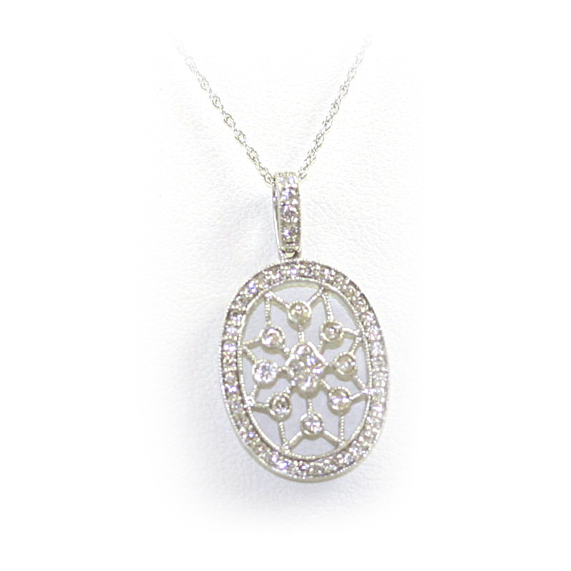 14 Karat White Gold Oval Cutout  Pendant Necklace
