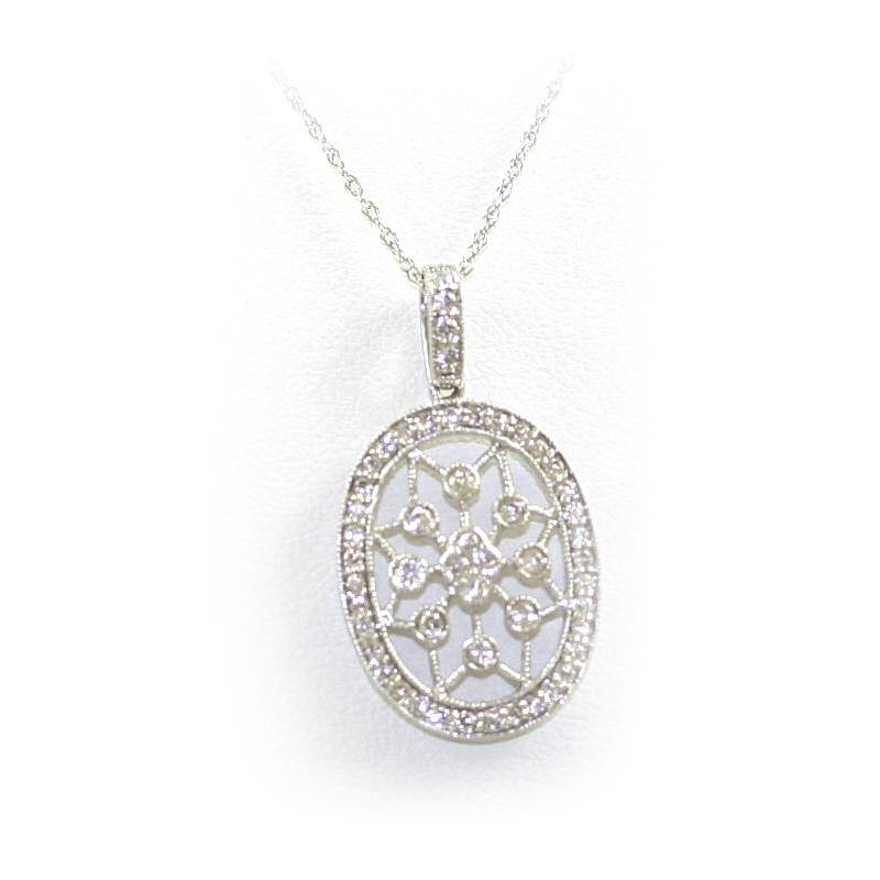 14 Karat White Gold Oval Cutout  Pendant Necklace