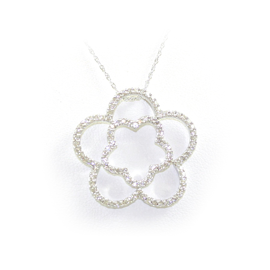 14 Karat White Gold Double Clover Diamond Pendant Necklace