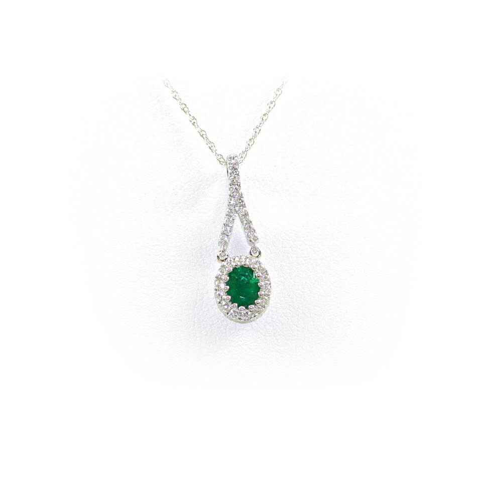 14 Karat White Gold Oval Emerald And Diamond Pendant Necklace
