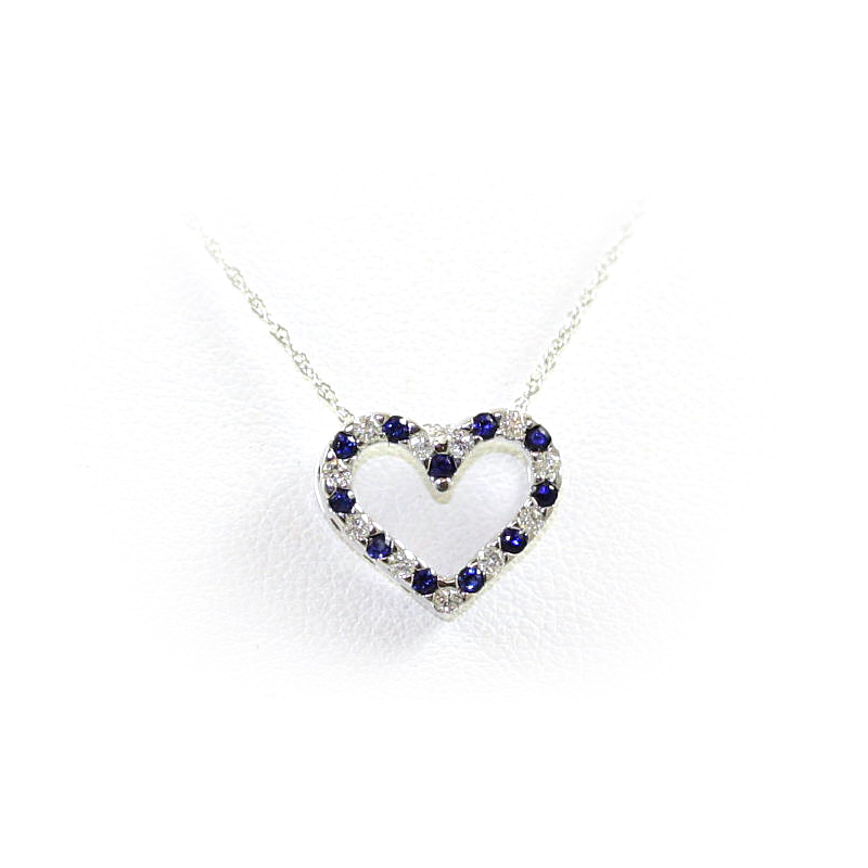 14 Karat White Gold Sapphire and Diamond Open Heart Pendant Necklace