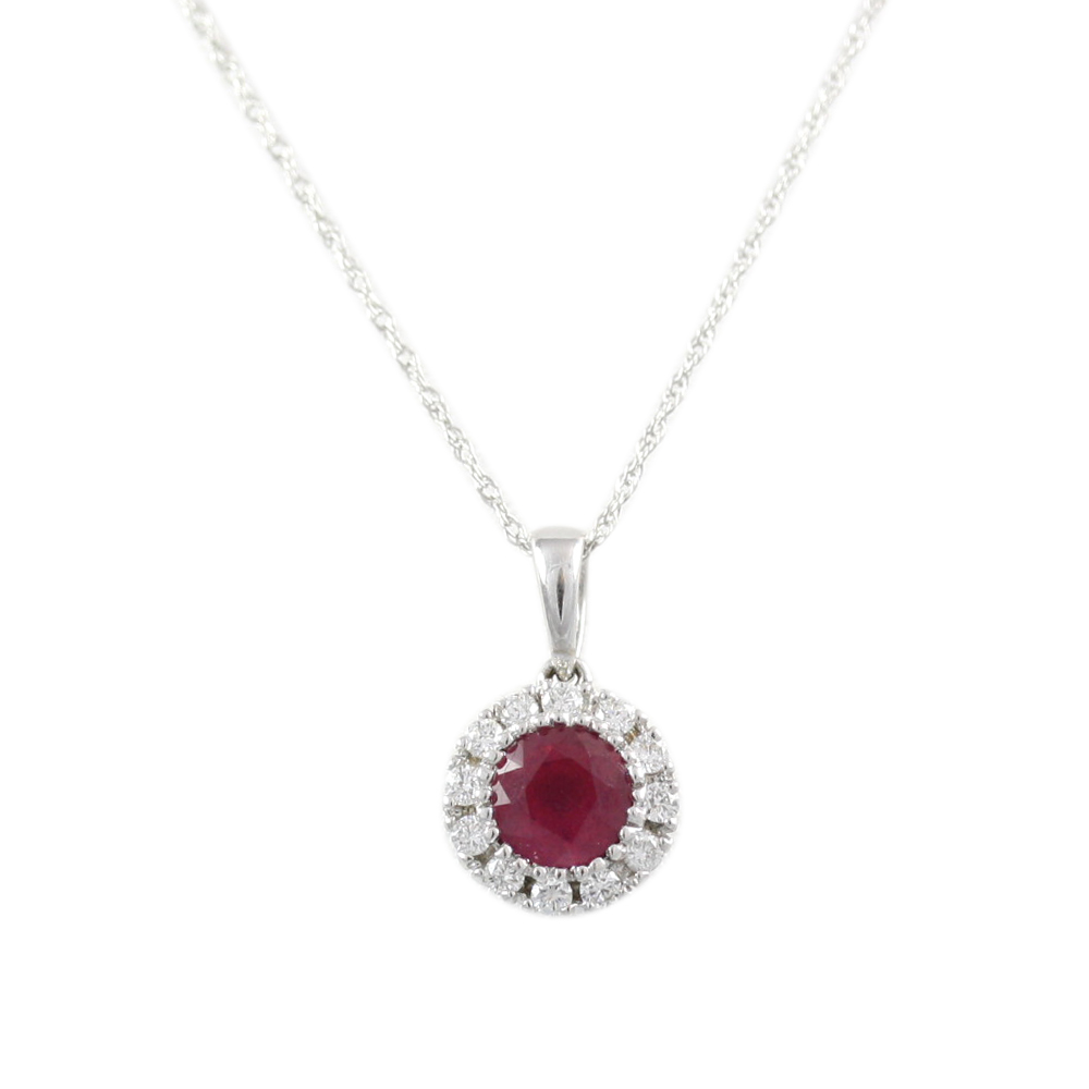 14 Karat White Gold Oval Ruby and Diamond Pendant Necklace