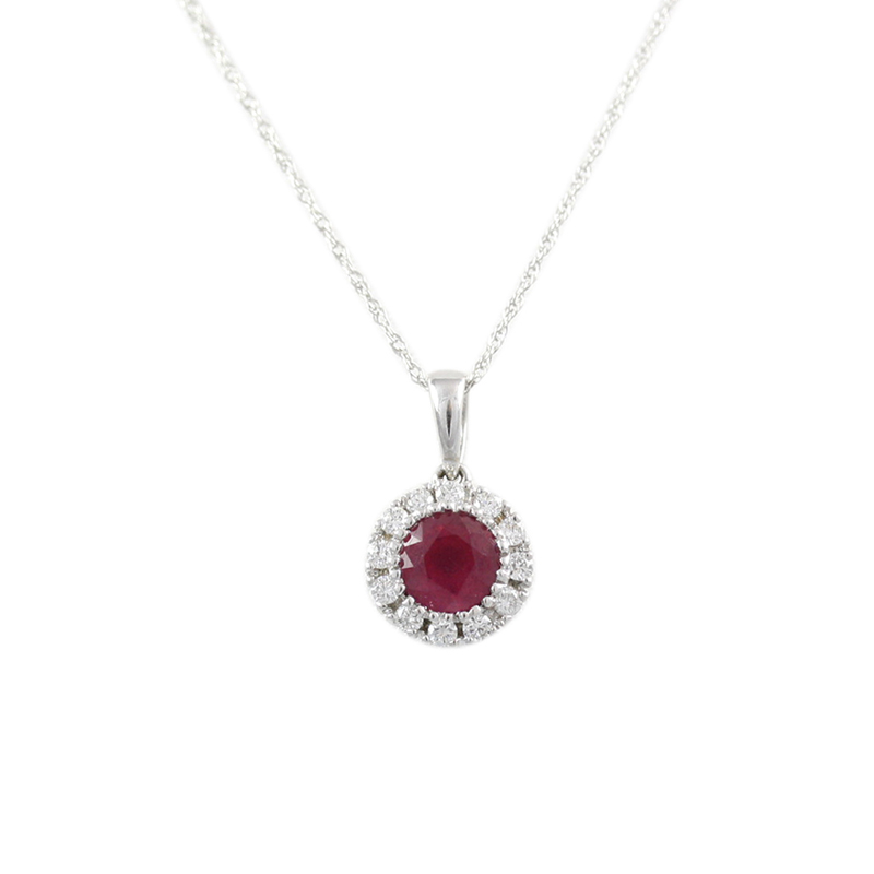 14karat white gold ruby and diamond pendant