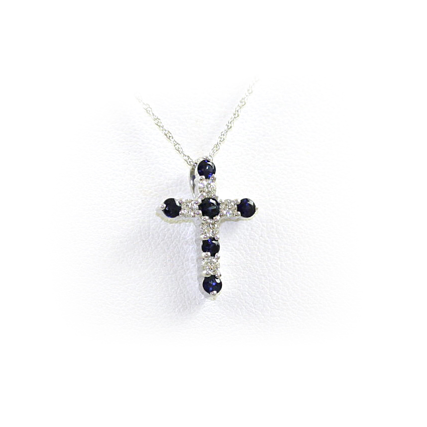14 Karat White Gold Sapphire and Diamond Cross Pendant Necklace