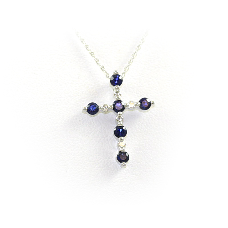 14 Karat White Gold Sapphire and Diamond Cross Pendant Necklace
