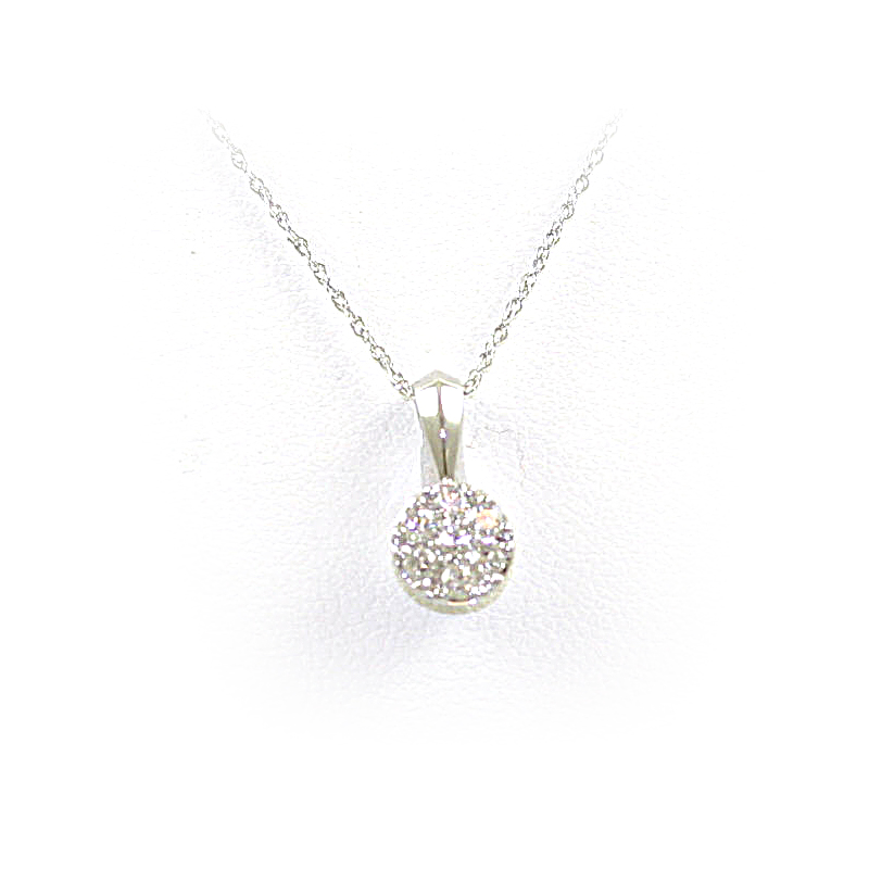 14 Karat White Gold Round Diamond Pendant Necklace