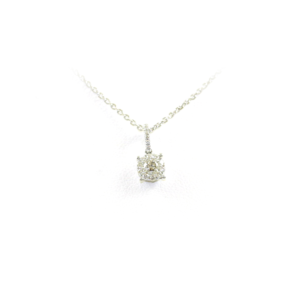 18 Karat White Gold Diamond Semi-Mount Pendant Necklace
