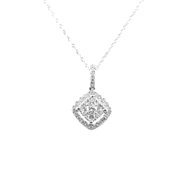 14karat white gold diamond pendant.