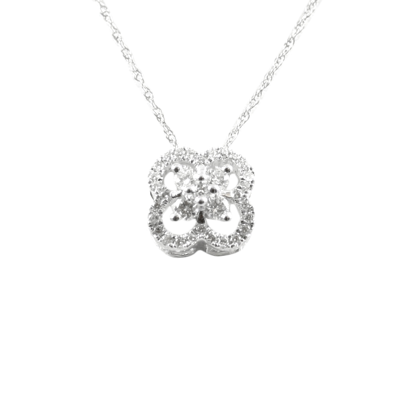 14karat white gold diamond pendant.