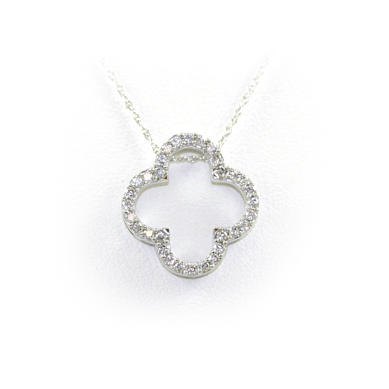 14 Karat White Gold Open Clover Diamond Pendant Necklace