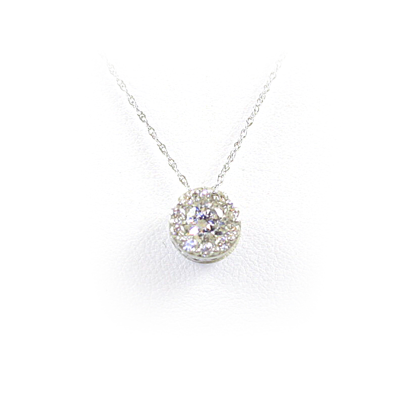 14 Karat White Gold Diamond Circle Semi-Mount Pendant Necklace