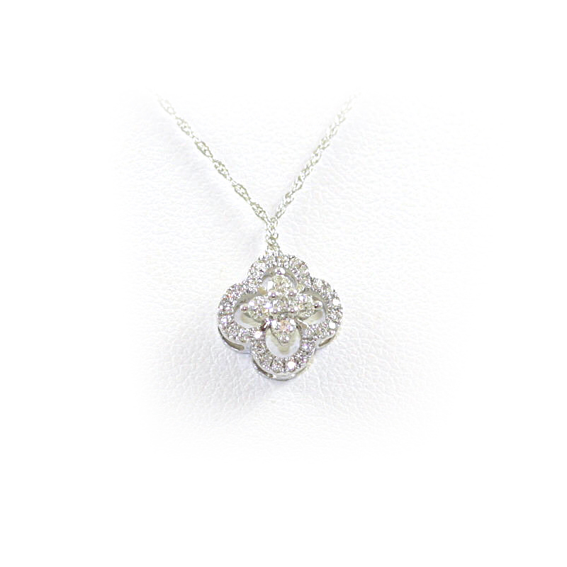 14 Karat White Gold Clover Diamond Pendant Necklace