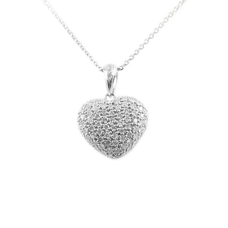 18karat white gold diamond puffed heart pendant