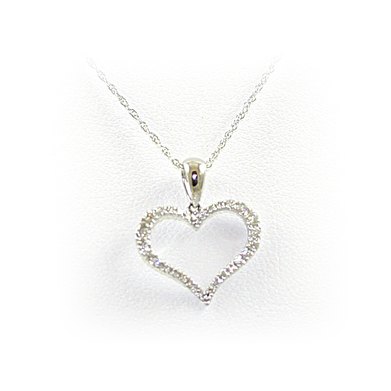 14 Karat White Gold Diamond Open Heart Pendant Necklace